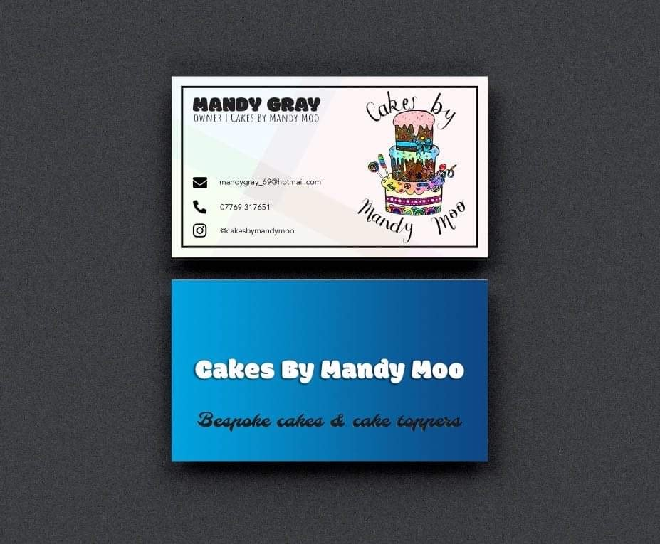 business cards created for 'cakes by mandy moo'